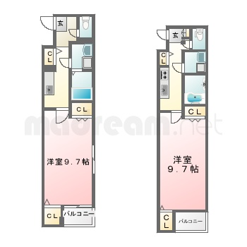 【間取り図集】LeafⅡ 101号室