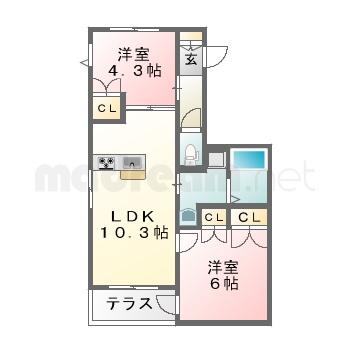 【間取り図集】ラポートK 101号室